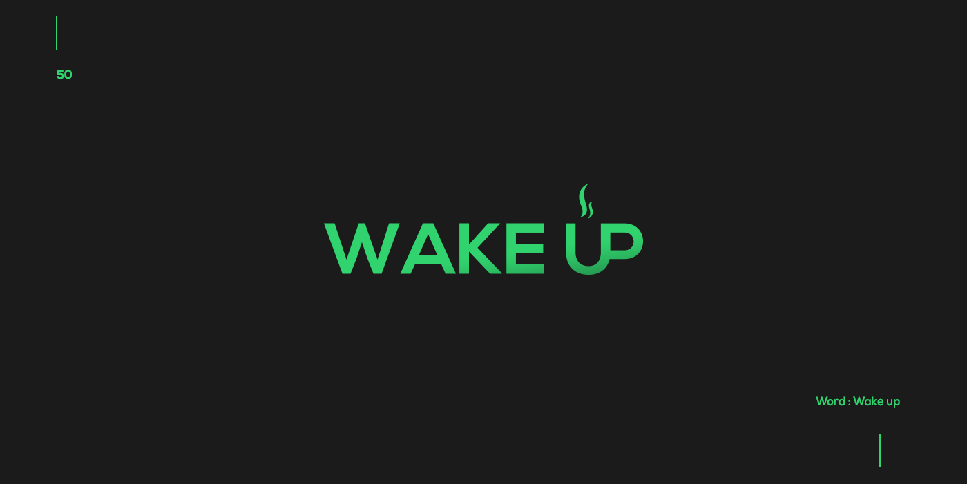Creative typographic logos that visualize the meanings of words - Wake up