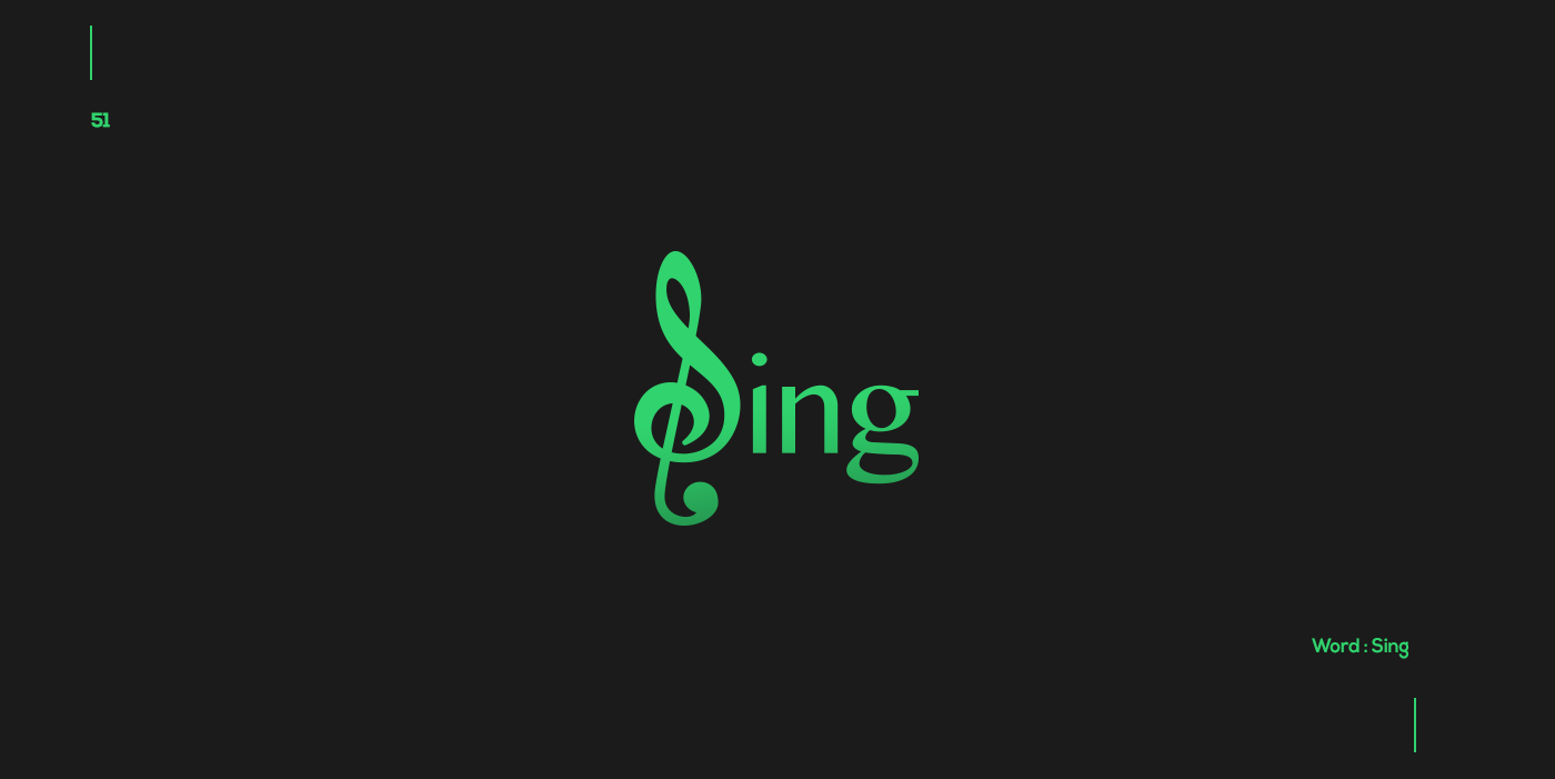 Creative typographic logos that visualize the meanings of words - Sing