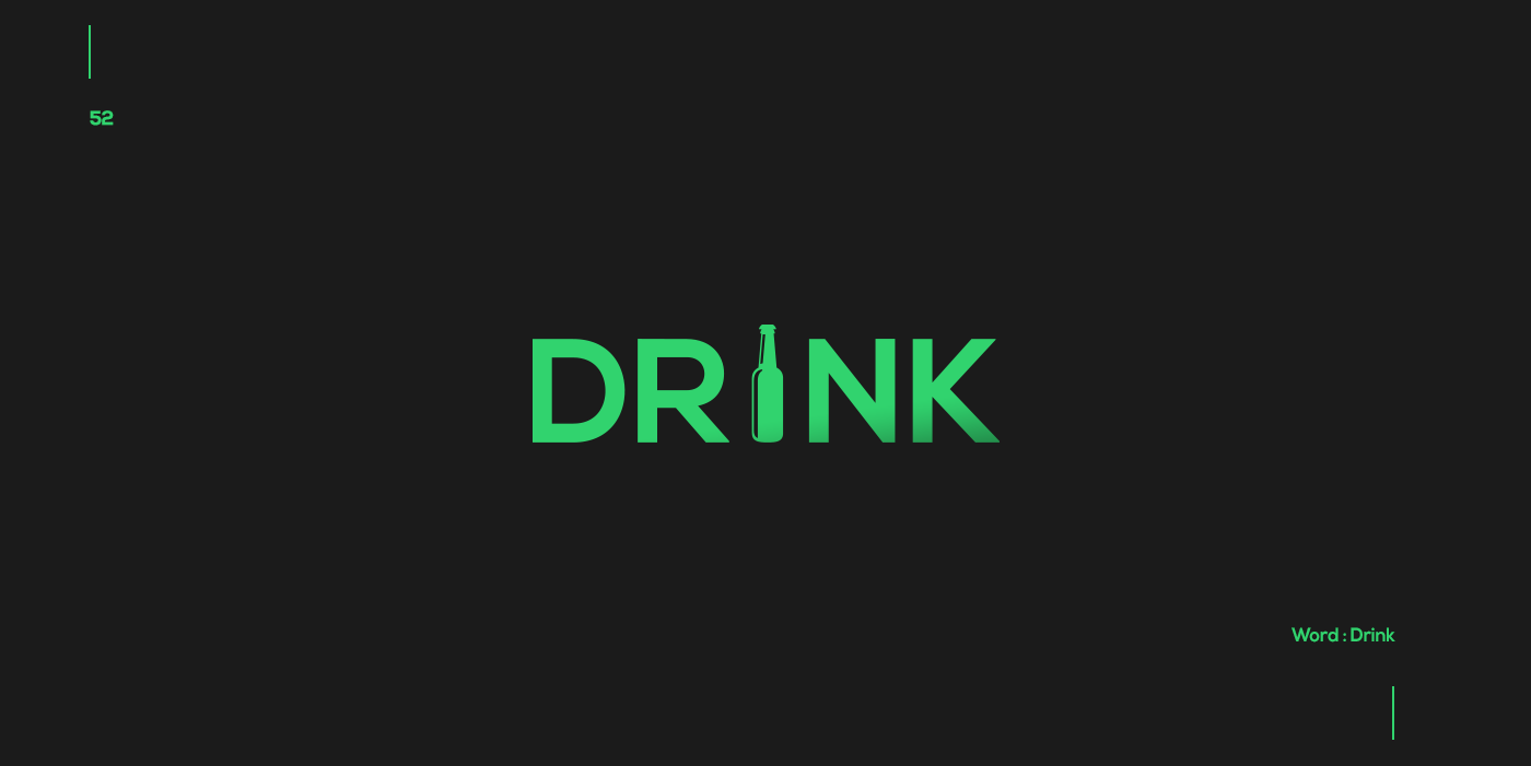 Creative typographic logos that visualize the meanings of words - Drink