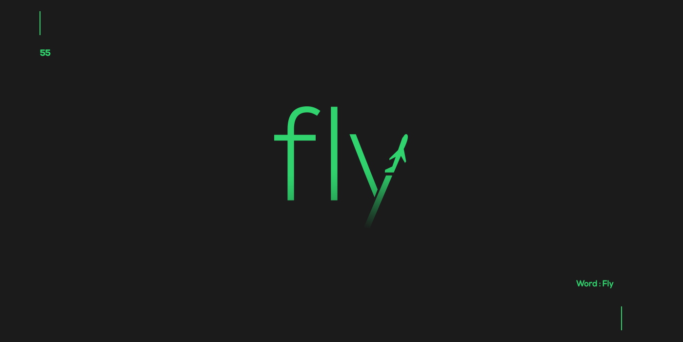 Creative typographic logos that visualize the meanings of words - Fly