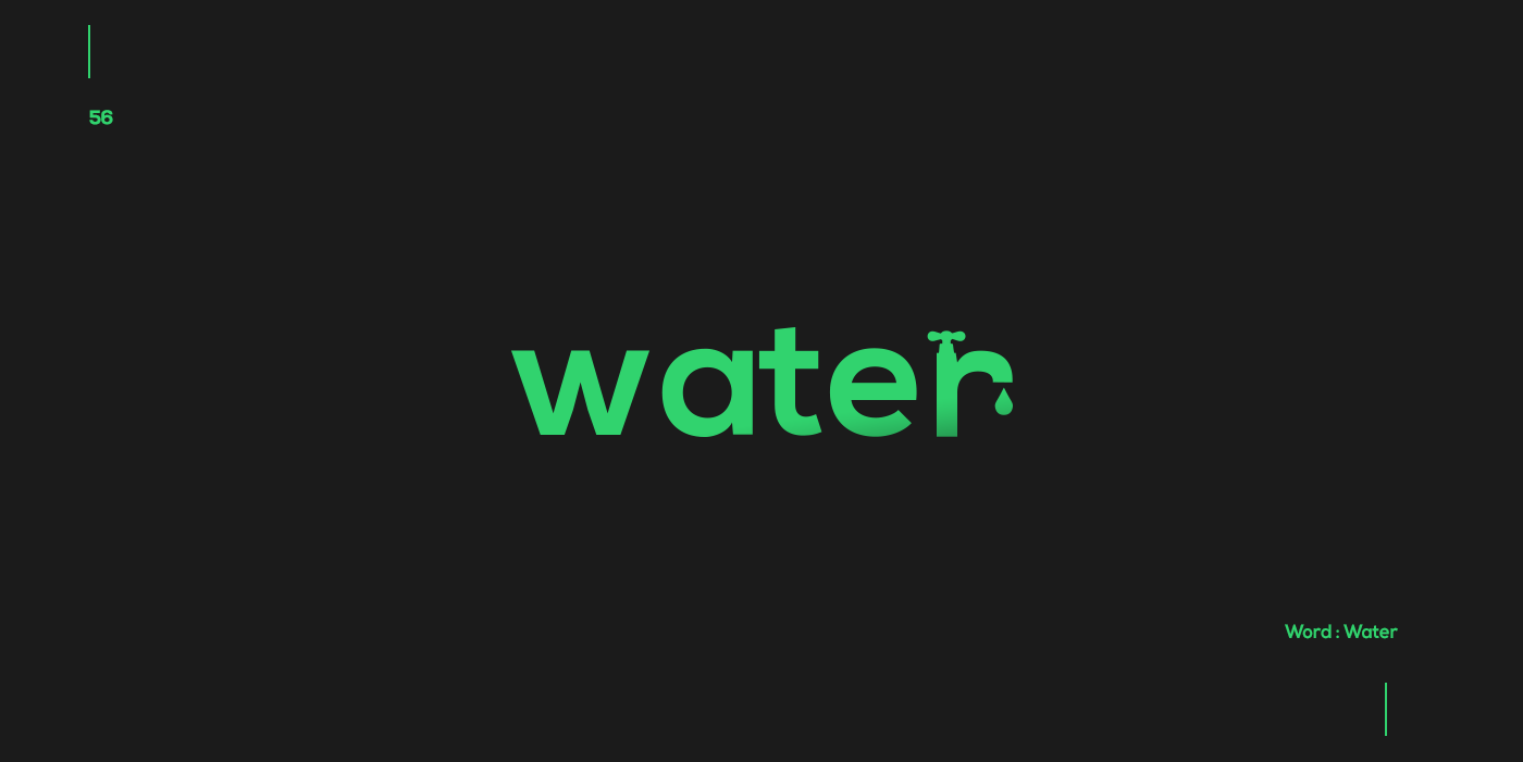 Creative typographic logos that visualize the meanings of words - Water