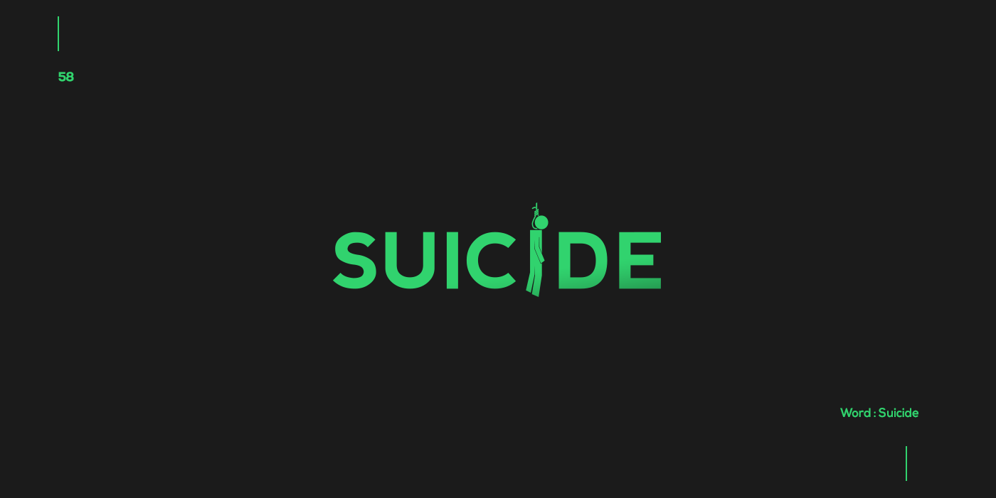 Creative typographic logos that visualize the meanings of words - Suicide