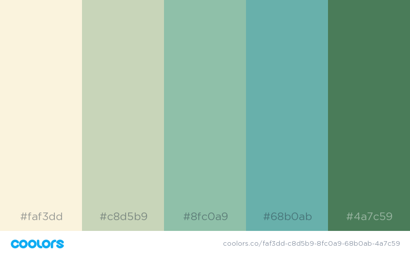 Green Color Shades Combinations Palettes Schemes