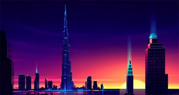 Vibrant, Dream-Like Illustrations Of Architecture Made With Neon Colors And Gradients