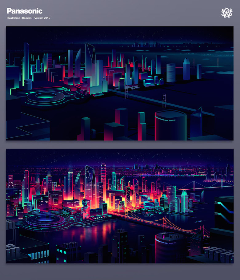 Colorful architecture skyline and cityscape illustrations - Panasonic 5