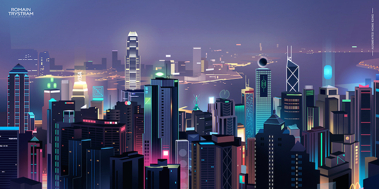 Colorful architecture skyline and cityscape illustrations - Skylines 1