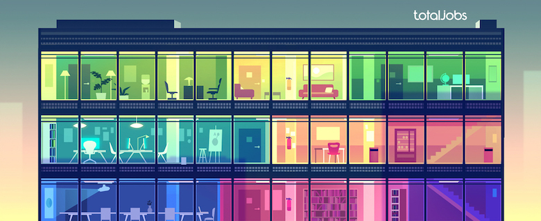 Colorful architecture skyline and cityscape illustrations - Totaljobs UK