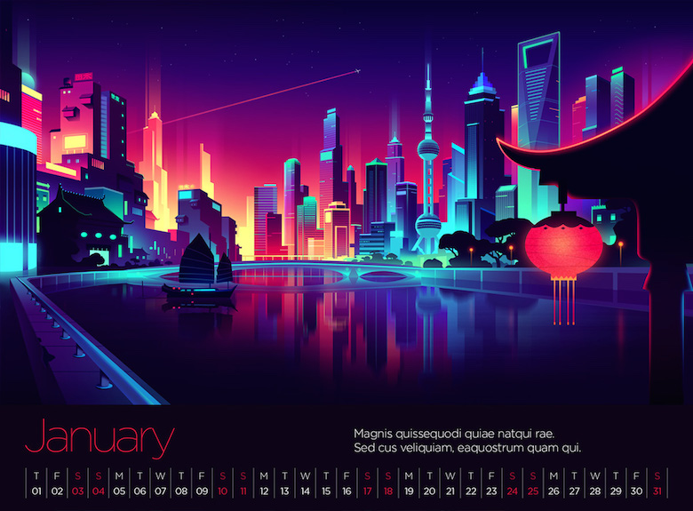 Colorful architecture skyline and cityscape illustrations - Virgin Atlantic