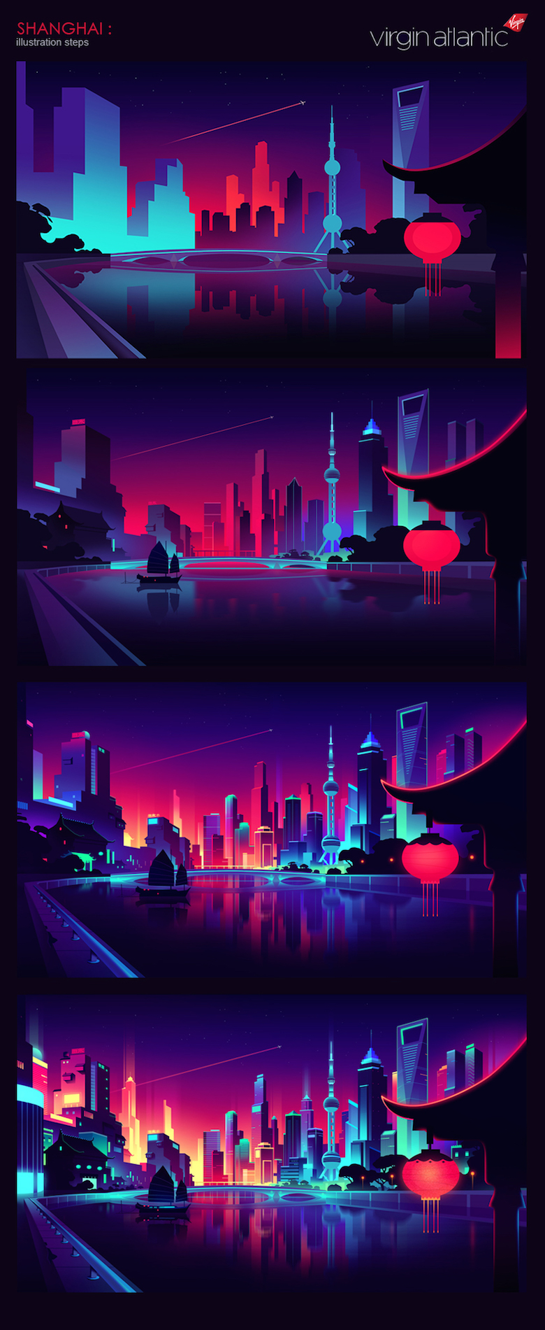 Colorful architecture skyline and cityscape illustrations - Virgin Atlantic: Shanghai