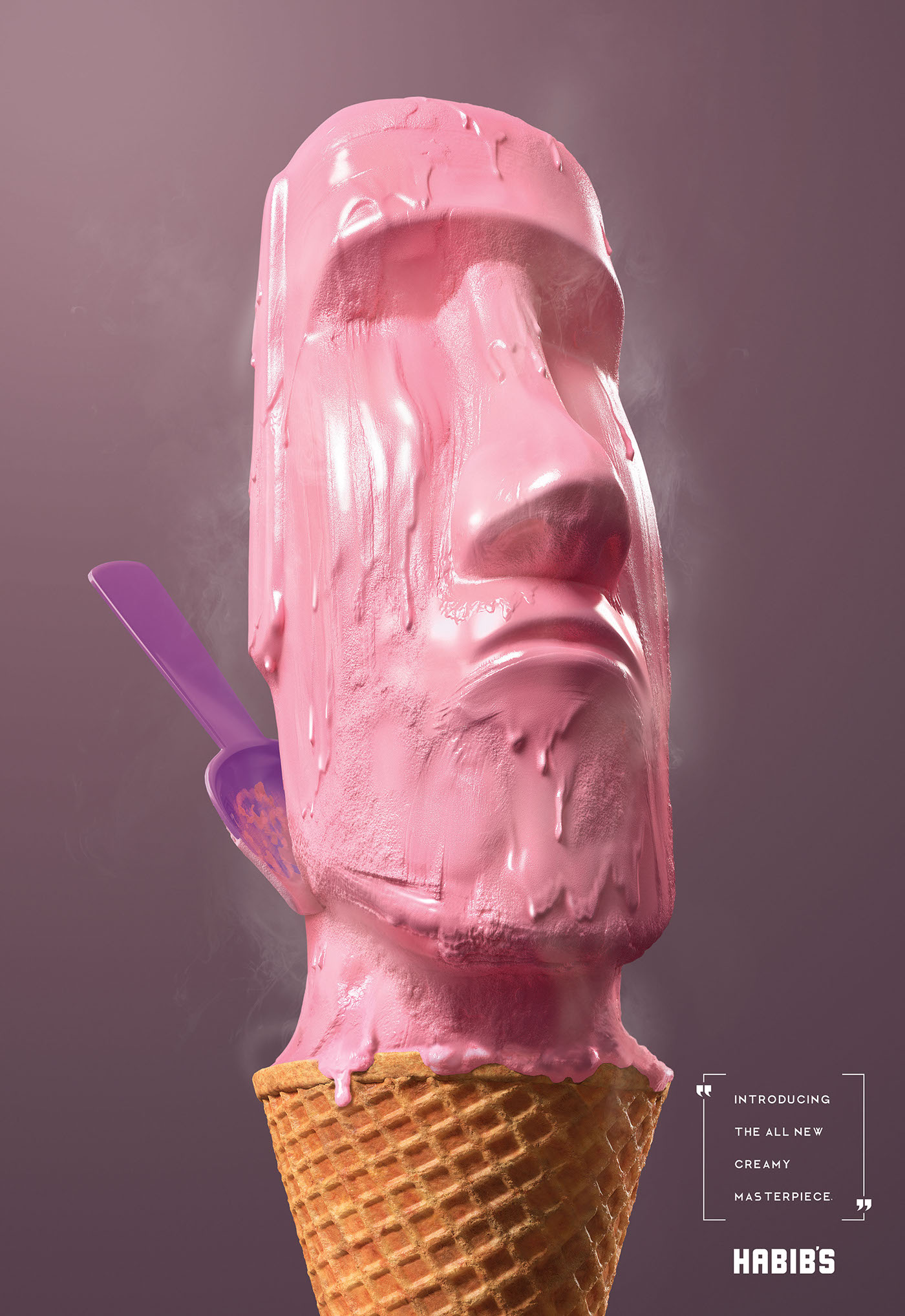 Habib's Ice Cream Sculpture - Introducing the all new creamy masterpiece - Moai