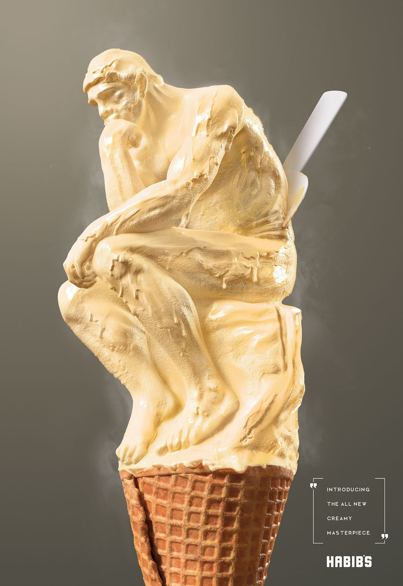 Habib's Ice Cream Sculpture - Introducing the all new creamy masterpiece - The Thinker