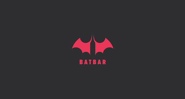 Creative logo designs that use negative space - BatBar