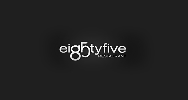Creative logo design using numbers and digits - EightyFive Restaurant