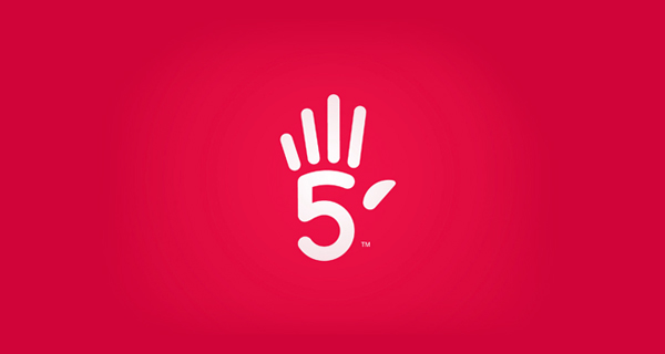 Creative logo design using numbers and digits - High Five
