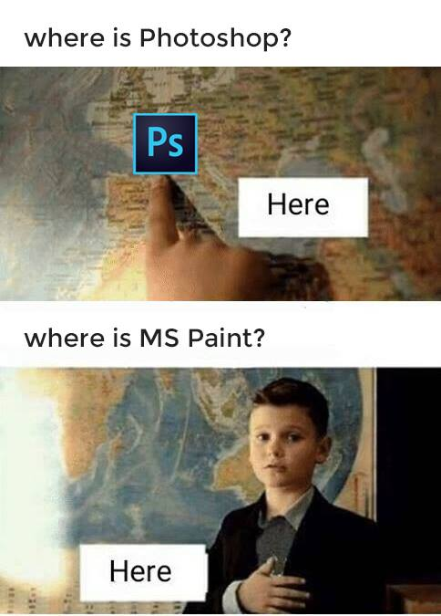 Where is Photoshop? vs Where is MS Paint?