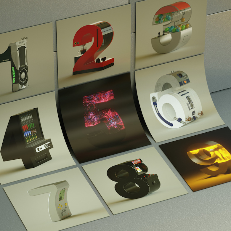 Alphabet Letters Designed As Electronic Gadgets - 0-9