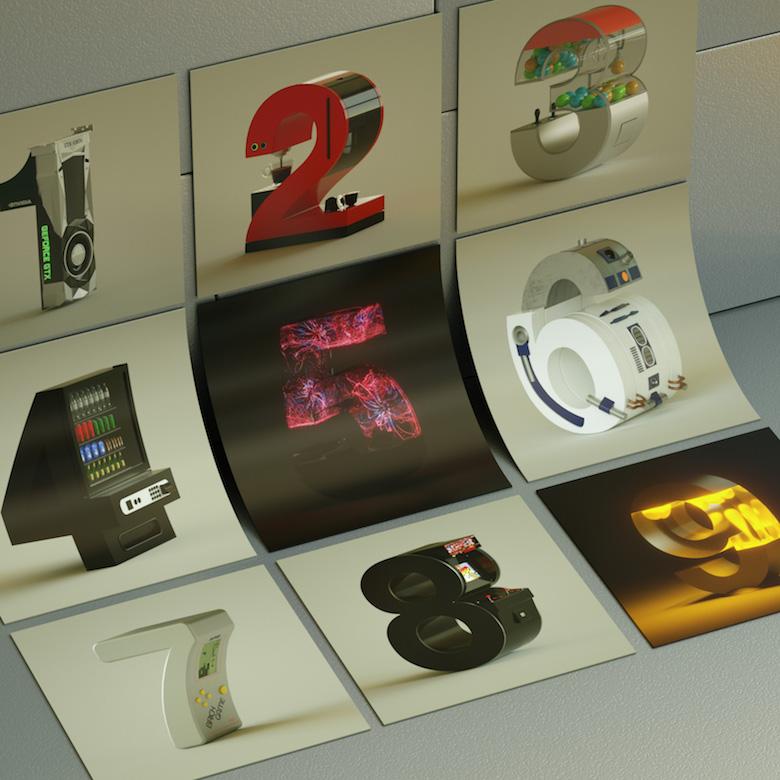 Alphabet Letters Designed As Electronic Gadgets - 0-9