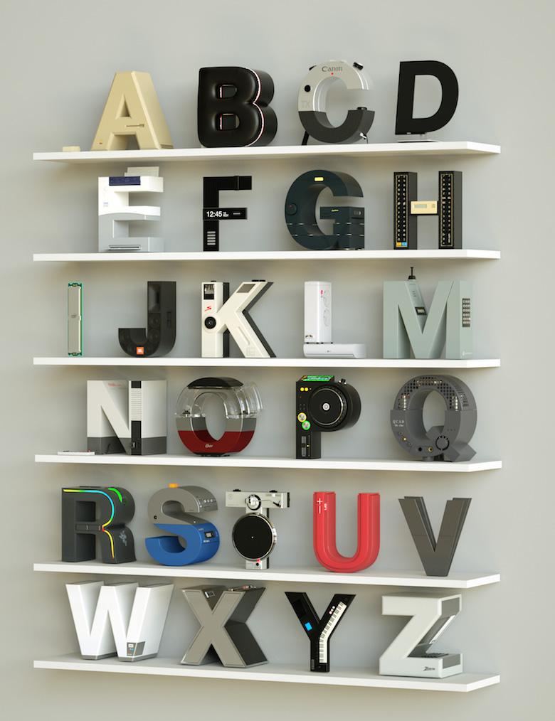 Alphabet Letters Designed As Electronic Gadgets - A-Z (3D)