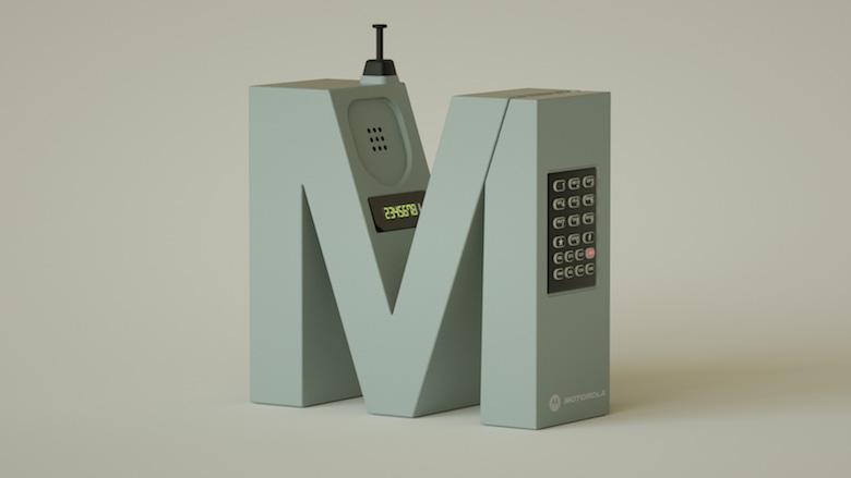 Alphabet Letters Designed As Electronic Gadgets - M