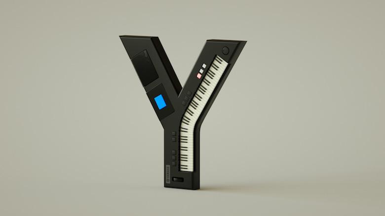 Alphabet Letters Designed As Electronic Gadgets - Y