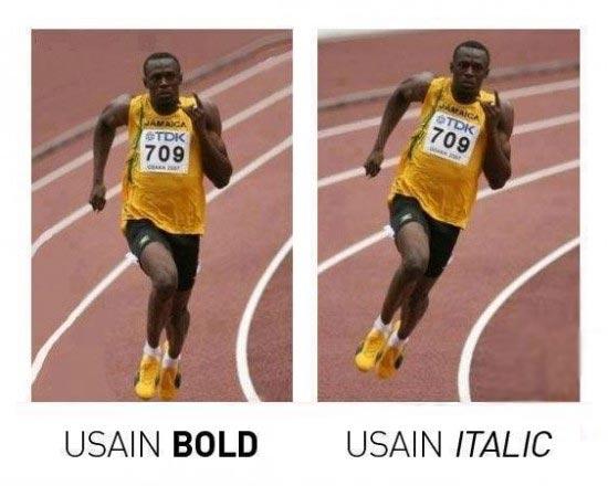 Usain Bold vs Usain Italic