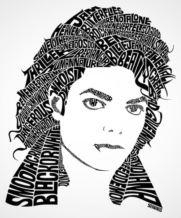 Typographic Portraits of Celebrities -