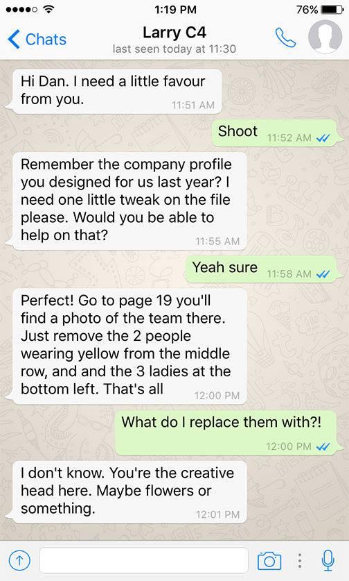 Client - Designer WhatsApp conversations - 1