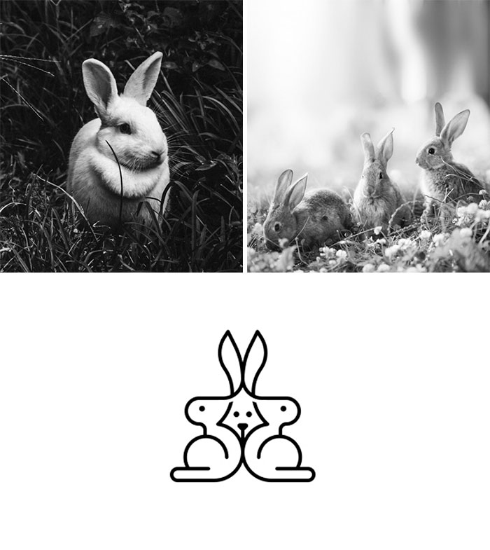 Brand logos made by combining two two objects - Rabbit Family