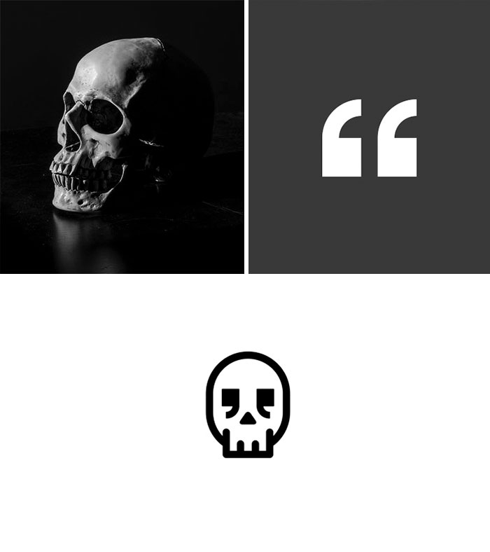 Brand logos made by combining two two objects - Dead Quote