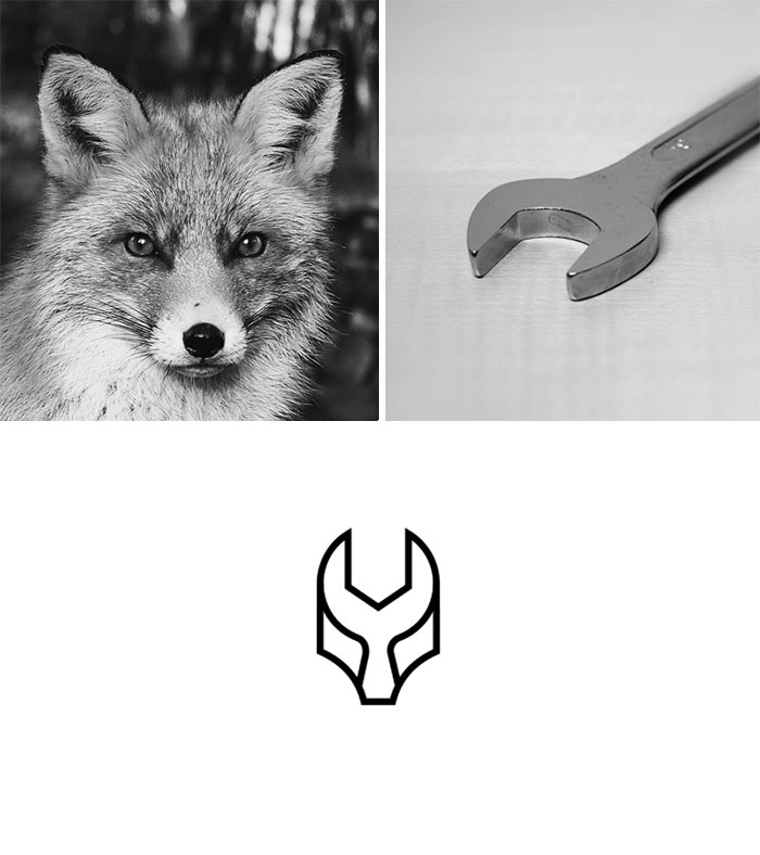 Brand logos made by combining two two objects - Fox Garage