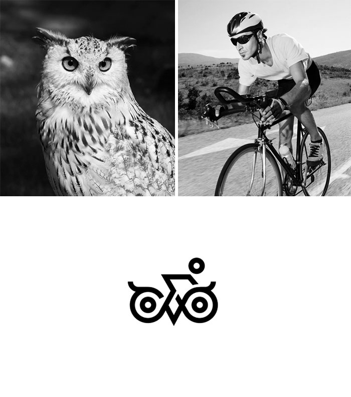 Brand logos made by combining two two objects - Owl Rider