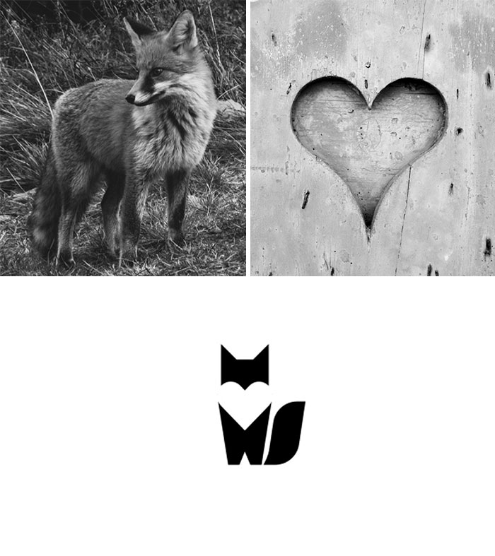 Brand logos made by combining two two objects - Fox Love