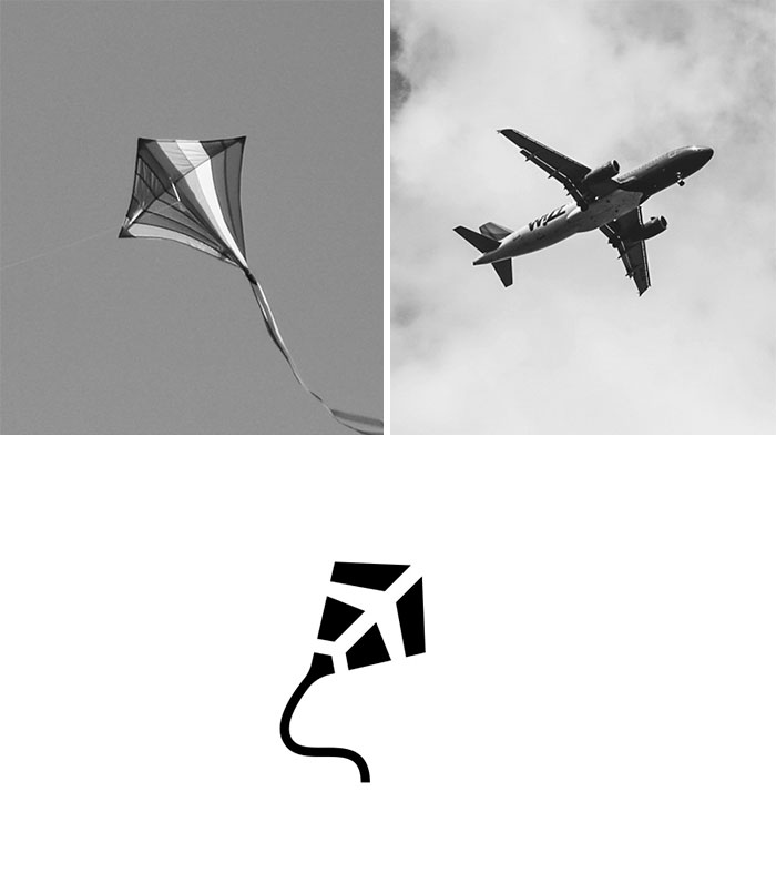 Brand logos made by combining two two objects - Flight Kid Express