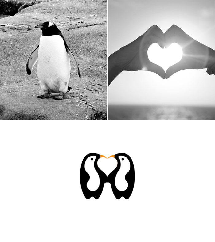 Brand logos made by combining two two objects - Penguin Love