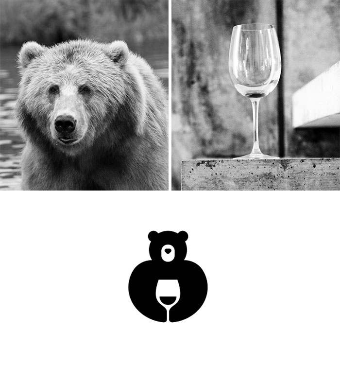 Brand logos made by combining two two objects - Wine Bear