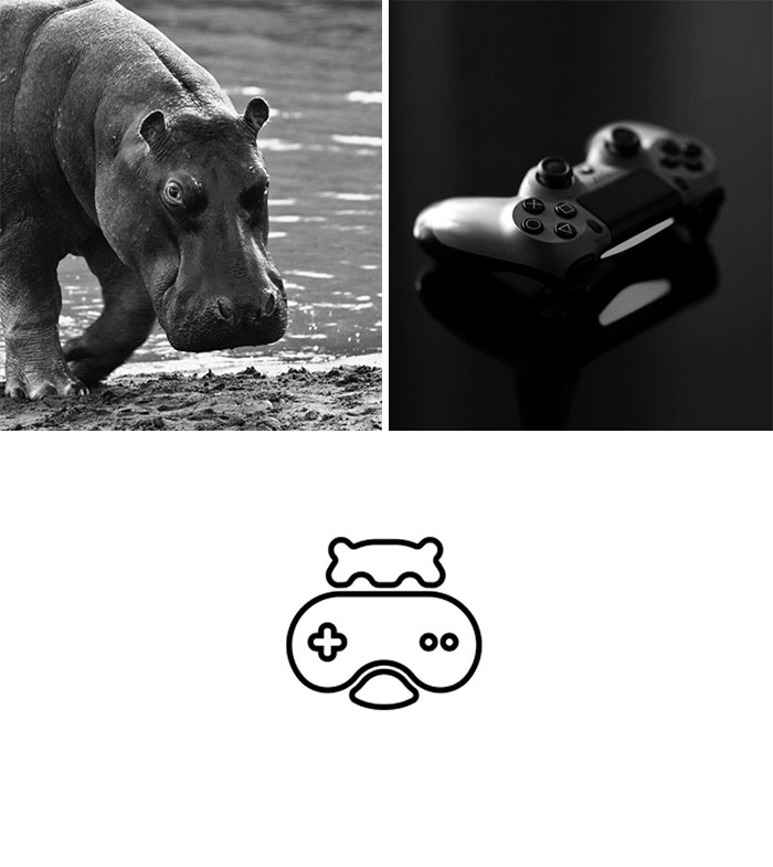 Brand logos made by combining two two objects - Hippo Gamer
