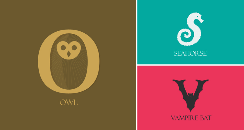 designer creates clever alphabetical logos based on animal names and shapes