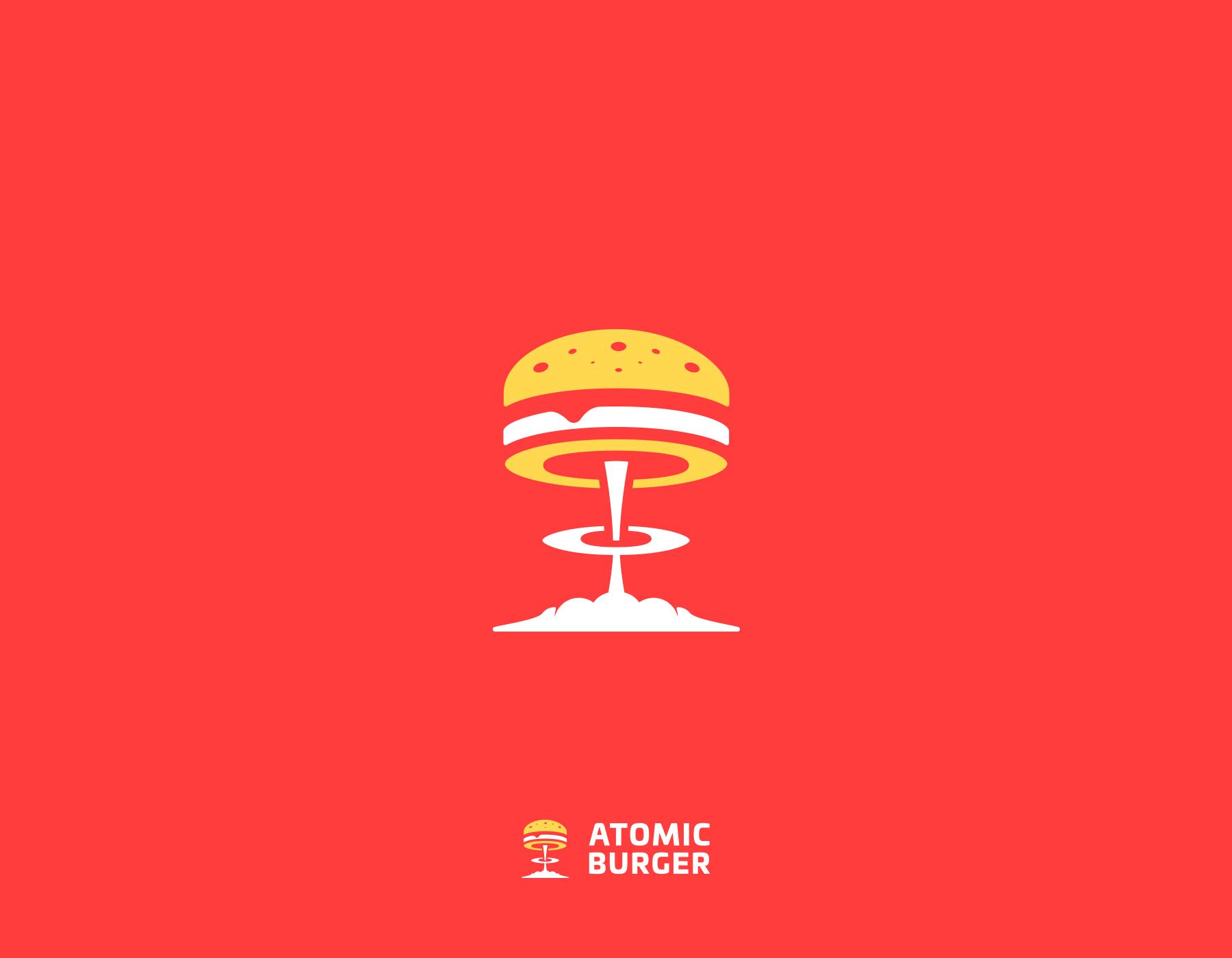 Creative logos with hidden symbolic meaning - Atomic Burger