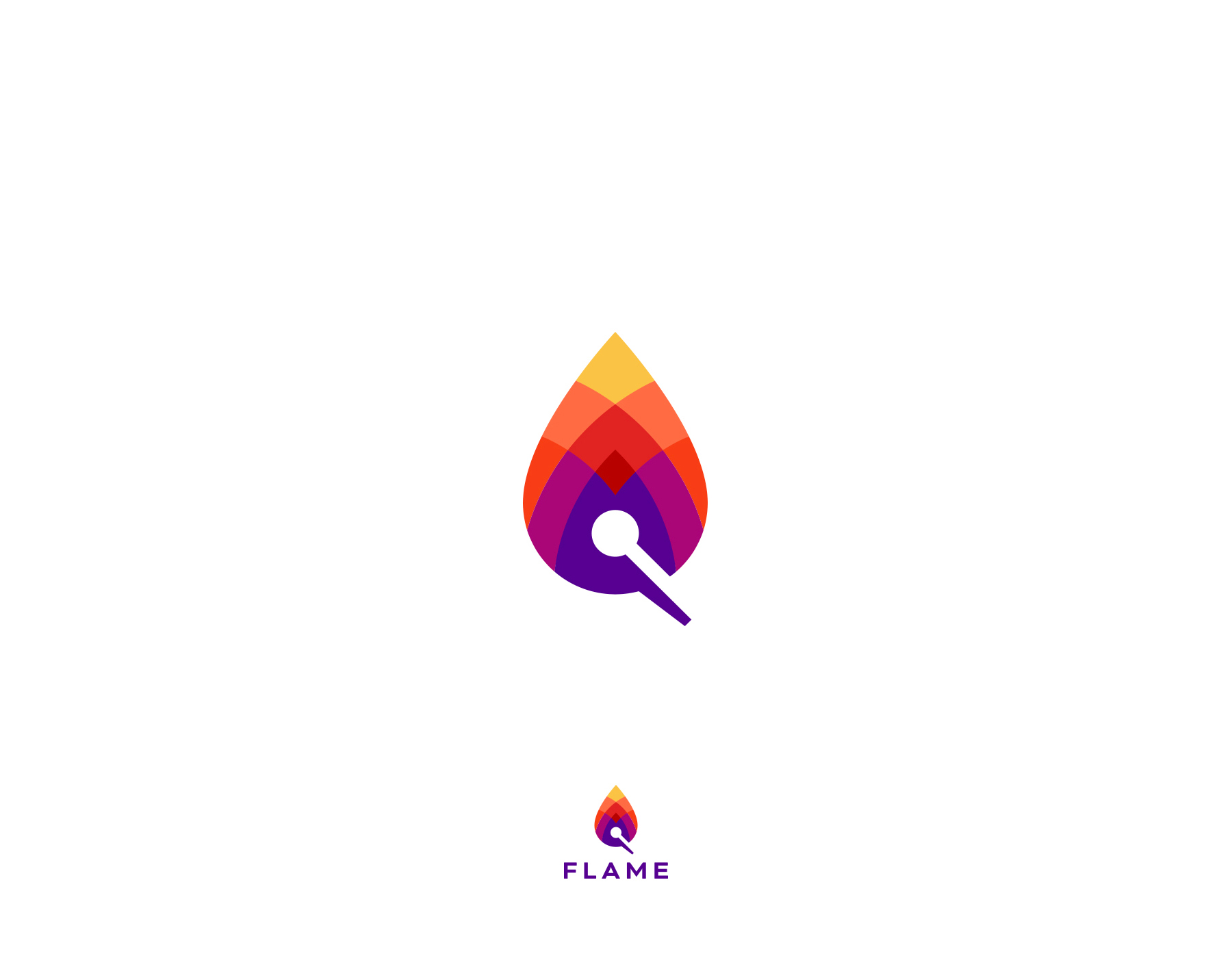 Creative logos with hidden symbolic meaning - Flame