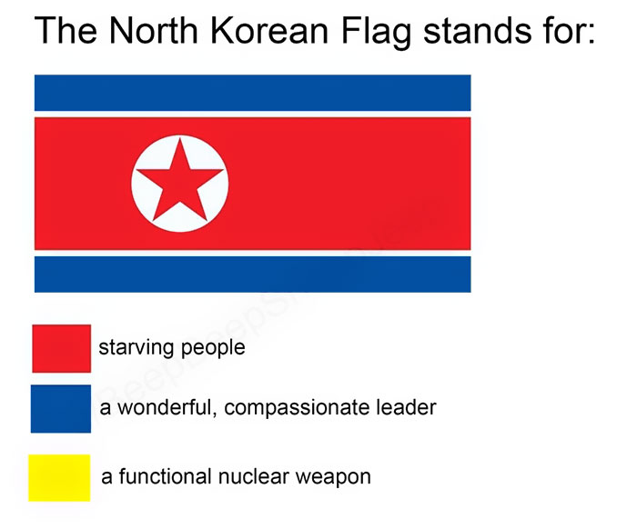 Funny meanings of country flag colors - North Korea