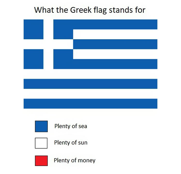 Funny meanings of country flag colors - Greece
