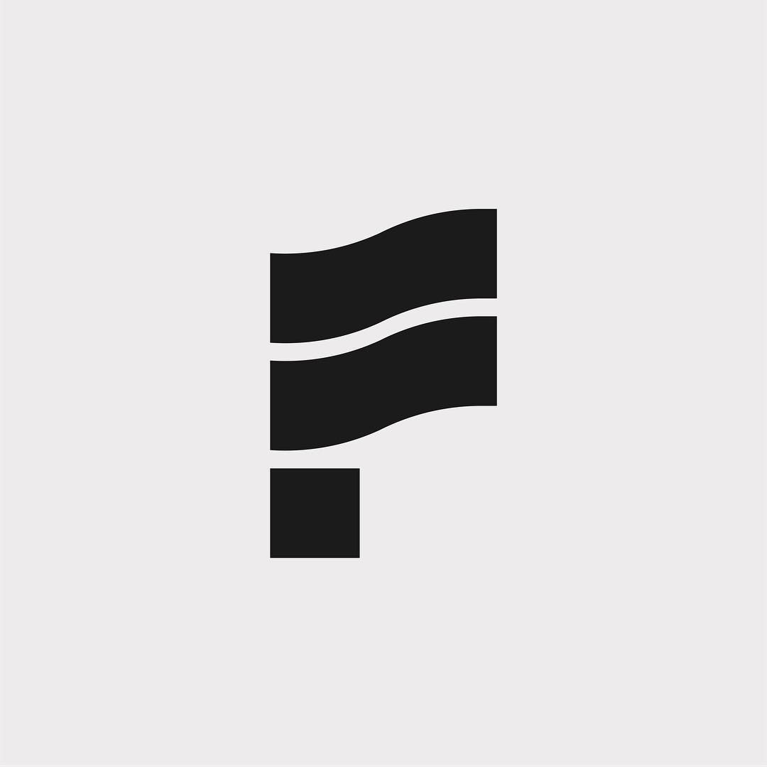 Creative typographic alphabet logos - F for Flag