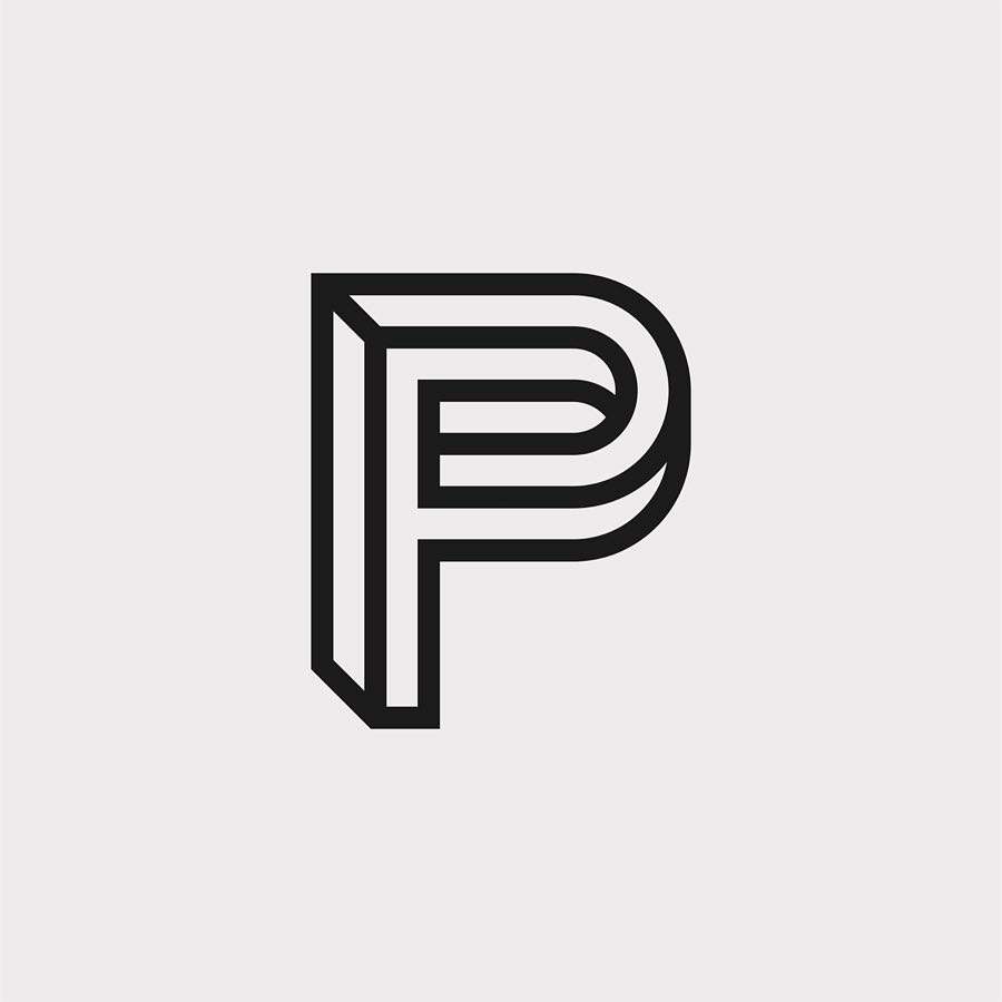 Creative typographic alphabet logos - P for Perspective