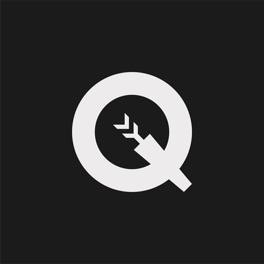 Creative typographic alphabet logos - Q for Quiver