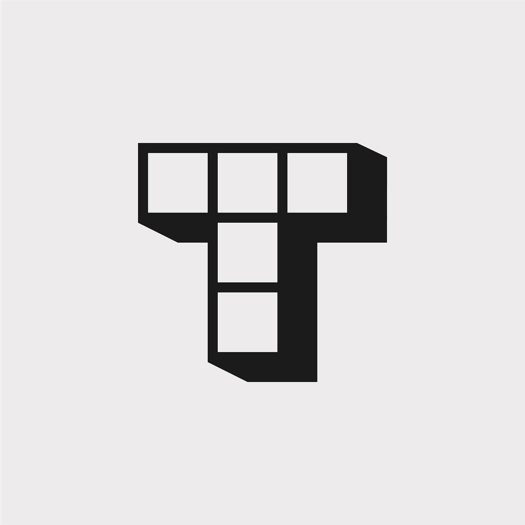 Creative typographic alphabet logos - T for Tetris