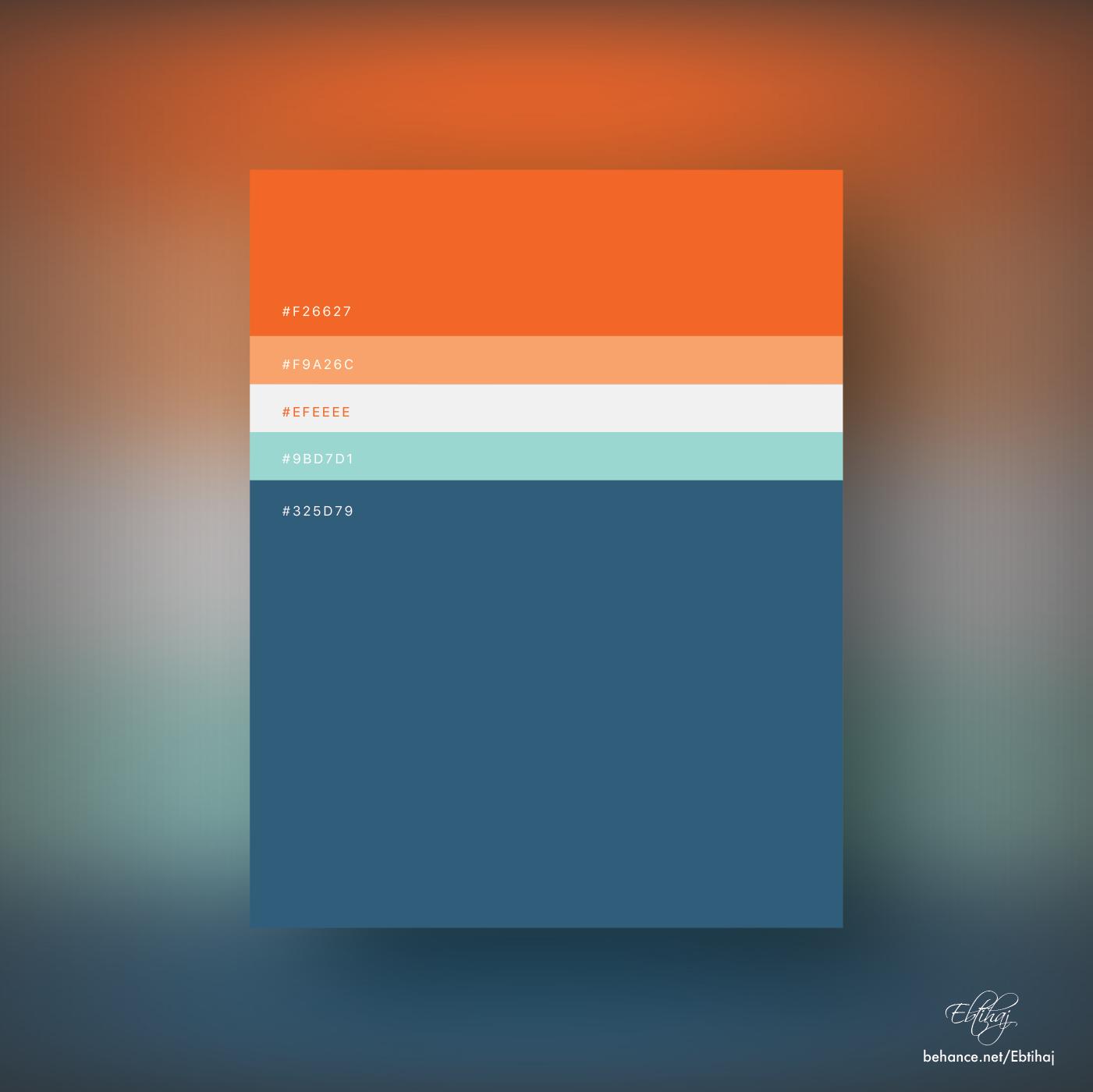 Beautiful flat color palette - Orange