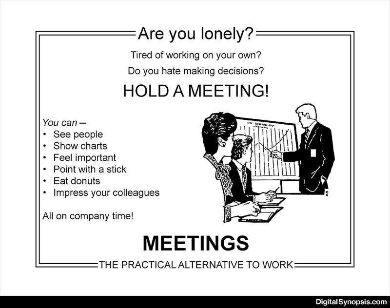Are you lonely? Tired? Hate making decisions? Then hold a meeting!