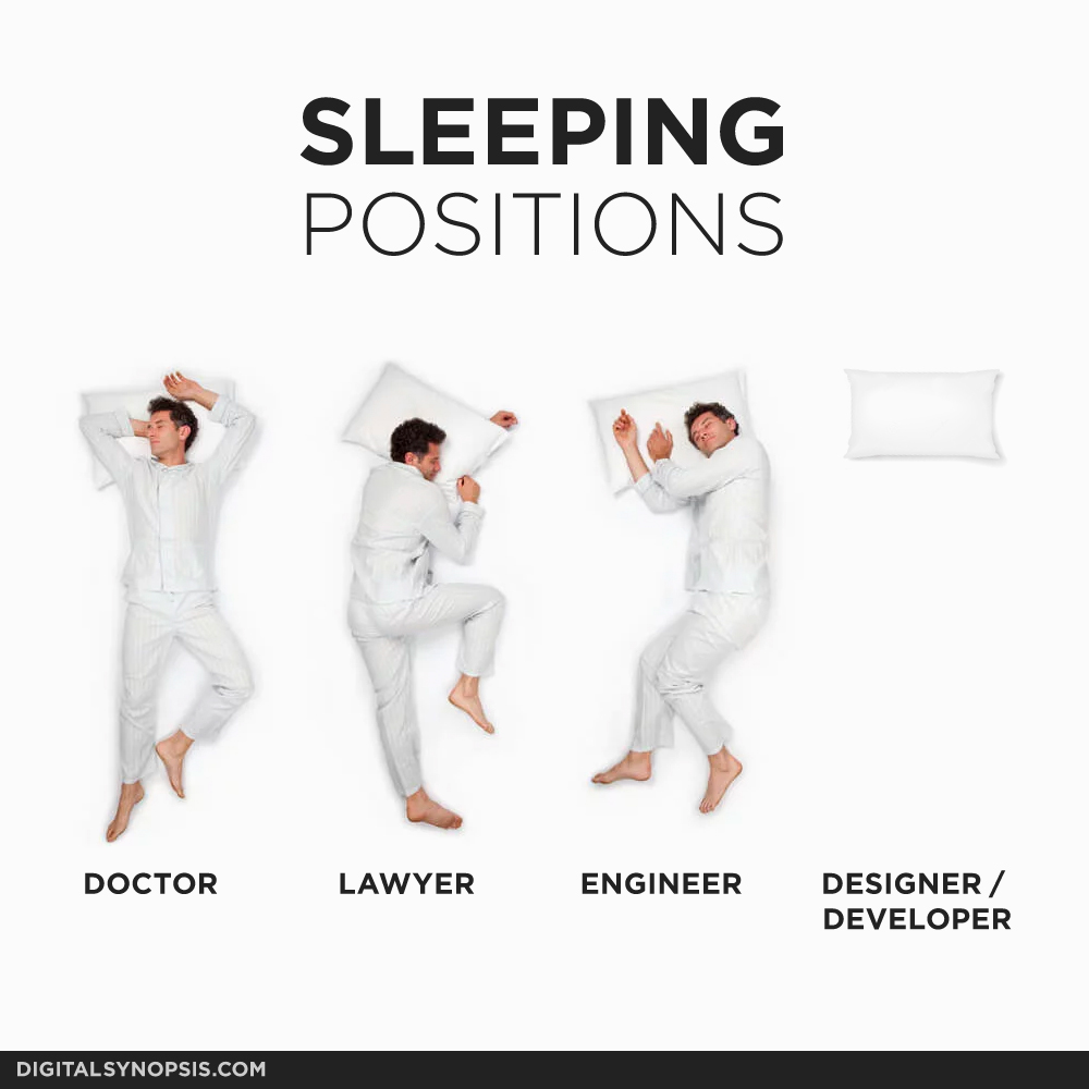 Sleeping Positions - Doctor, Lawyer, Engineer, Designer/Developer