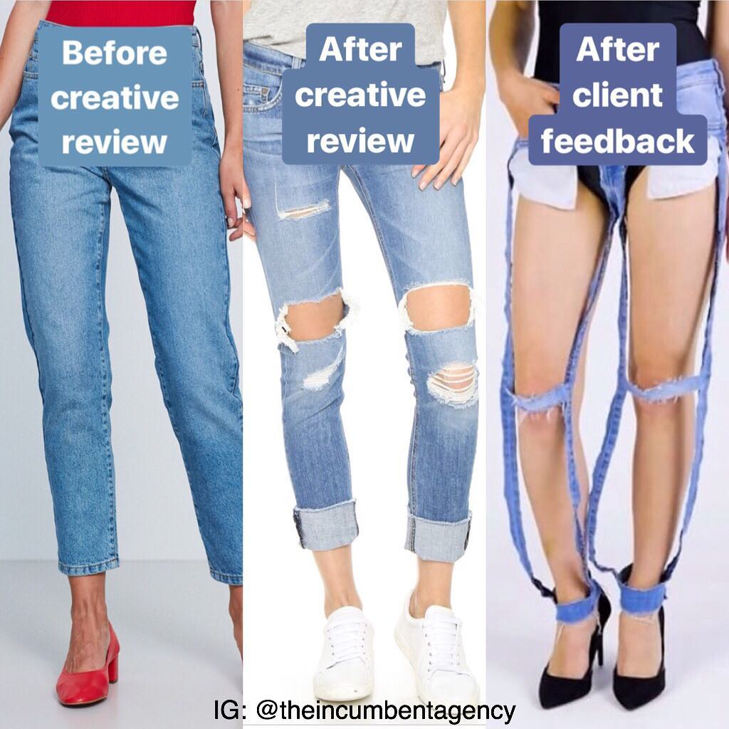 Before creative review, after creative review, after client feedback