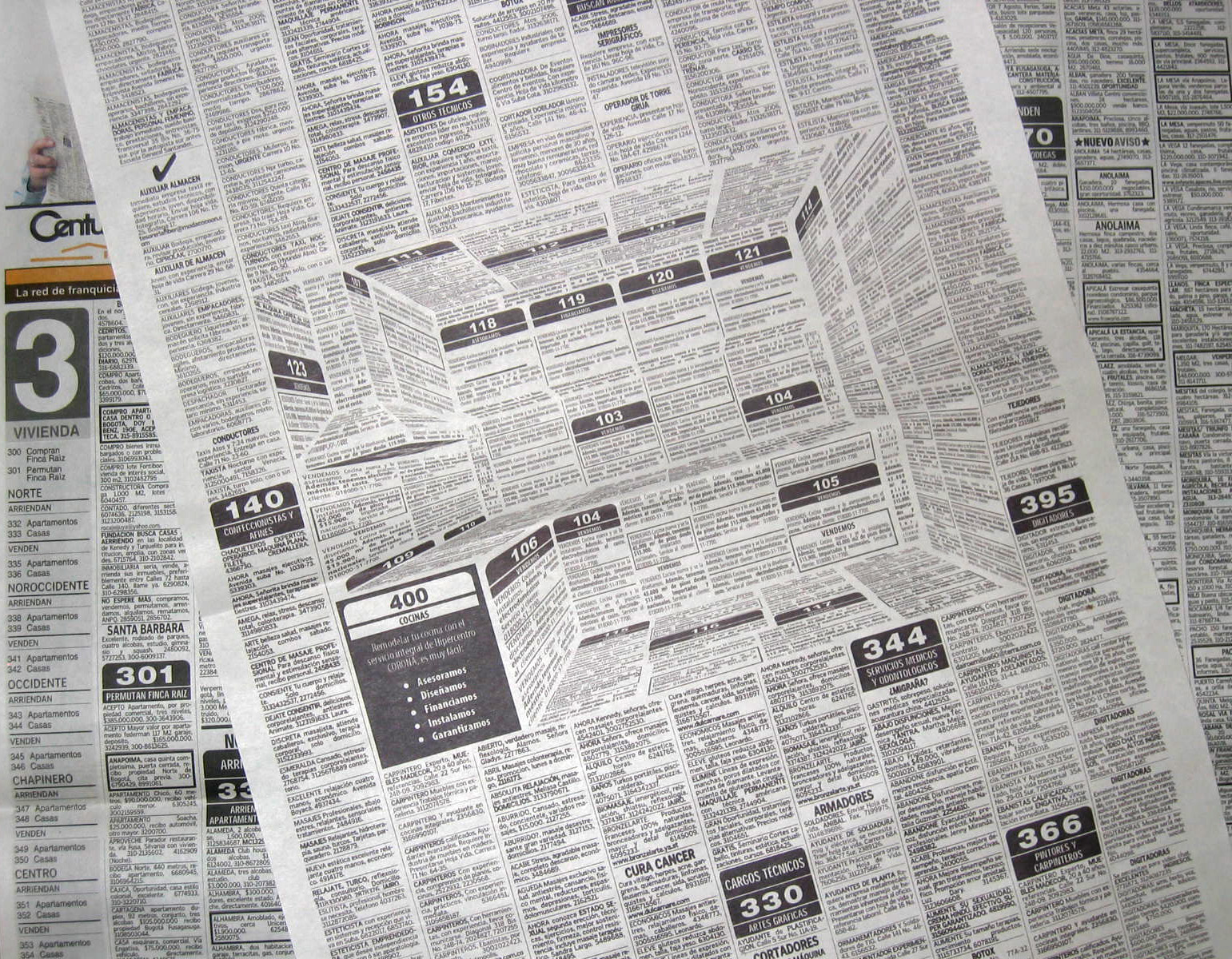 This Brilliant Newspaper Ad Hides A 3D Kitchen In The Classifieds - 2